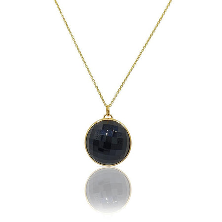 Eclipse: Black Onyx Necklace in 18k Gold Vermeil on Sterling Silver - Eliza Bautista