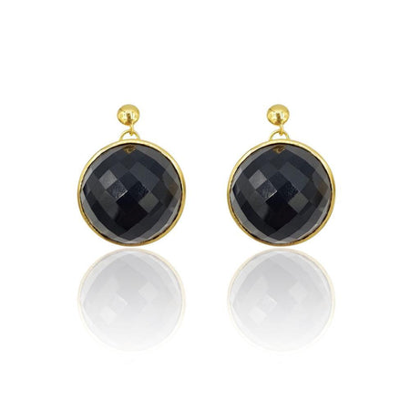 Eclipse: Black Onyx Earrings in 18k Gold Vermeil on Sterling Silver - Eliza Bautista