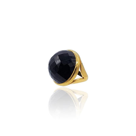 Eclipse: Black Onyx Ring in 18k Gold Vermeil on Sterling Silver - Eliza Bautista