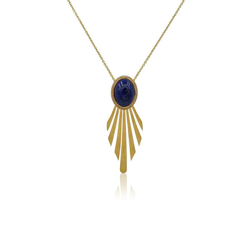 Fay Statement Art Deco Necklace with Lapis Lazuli in 18k Gold Vermeil - Eliza Bautista