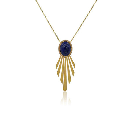 Fay Statement Art Deco Necklace with Lapis Lazuli & Diamonds in 18k Gold Vermeil - Eliza Bautista
