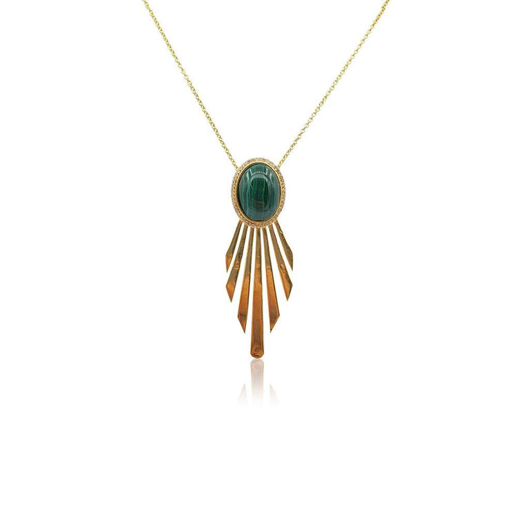 Fay Statement Art Deco Necklace with Malachite in 18k Gold Vermeil - Eliza Bautista
