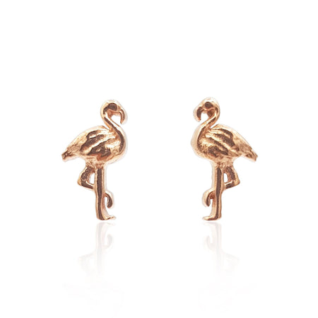 Flamingo Stud Earrings in 18k Rose Gold Vermeil on Sterling Silver - Eliza Bautista