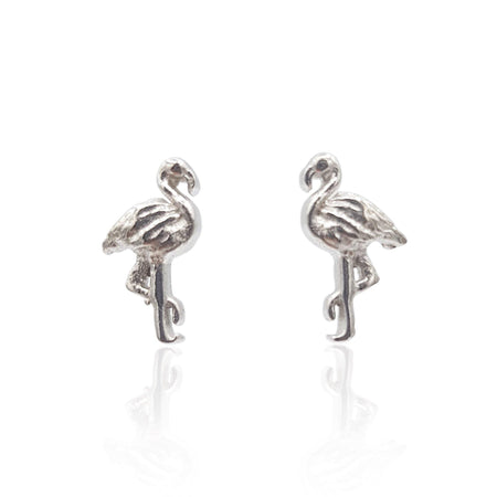Flamingo Stud Earrings in Sterling Silver