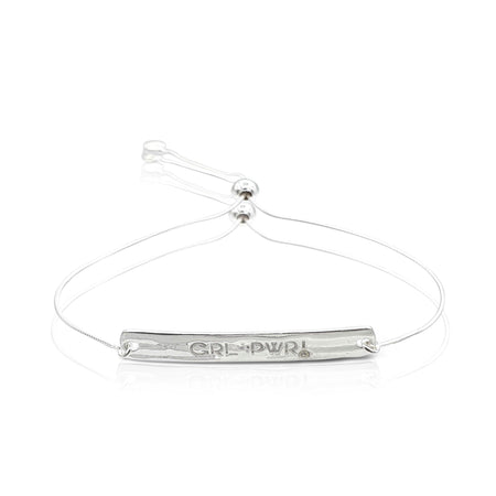 """GRL PWR"" Diamond Bracelet in Sterling Silver"