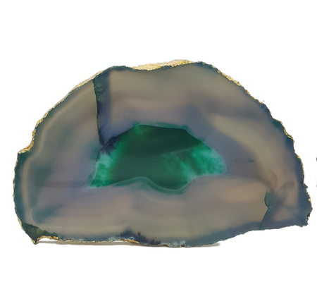 Green Agate Crystal Platter with Gold Leaf - Eliza Bautista
