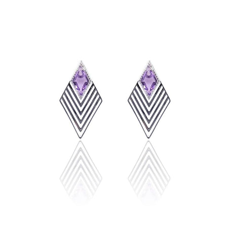 Greta Art Deco Earrings with Amethyst & White Topaz on Sterling Silver