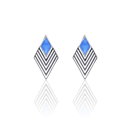 Greta Art Deco Earrings with Blue Onyx & White Topaz on Sterling Silver