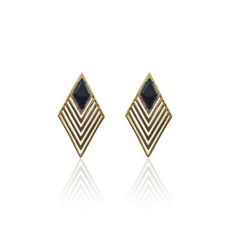 Greta Art Deco Earrings with Black Onyx & DIAMONDS on 18k Gold Vermeil