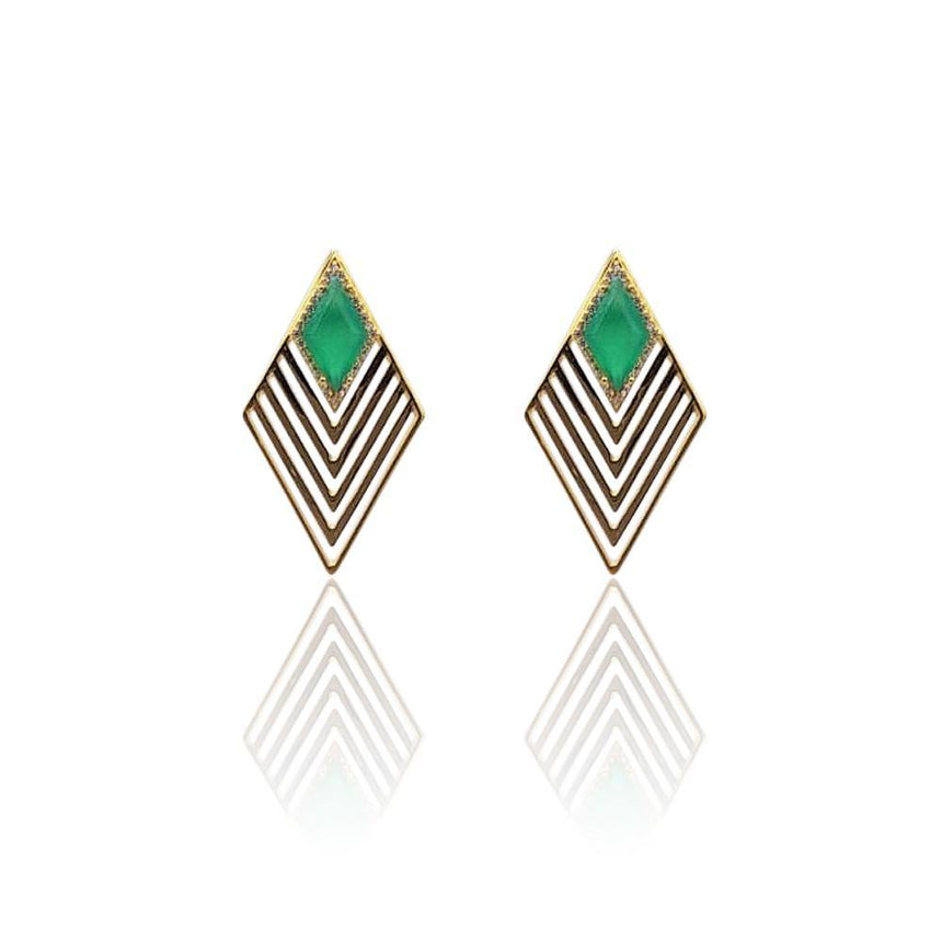 Greta Art Deco Earrings with Green Onyx & White Topaz on 18k Gold Vermeil
