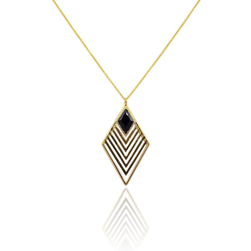 Greta Art Deco Necklace with Black Onyx & DIAMONDS in 18k Gold Vermeil