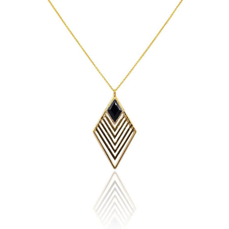 Greta Art Deco Necklace with Black Onyx & White Topaz in 18k Gold Vermeil