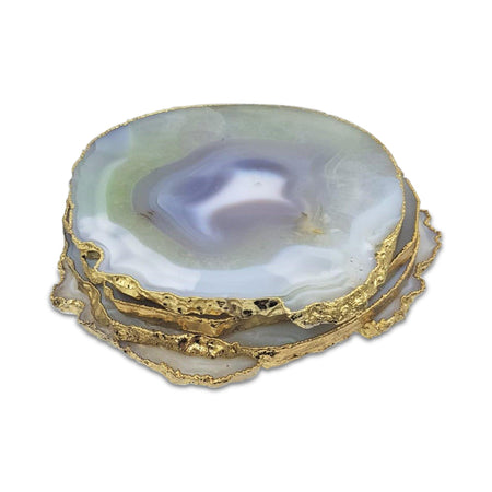 Grey Agate Coasters with Gold Electroplating - Eliza Bautista
