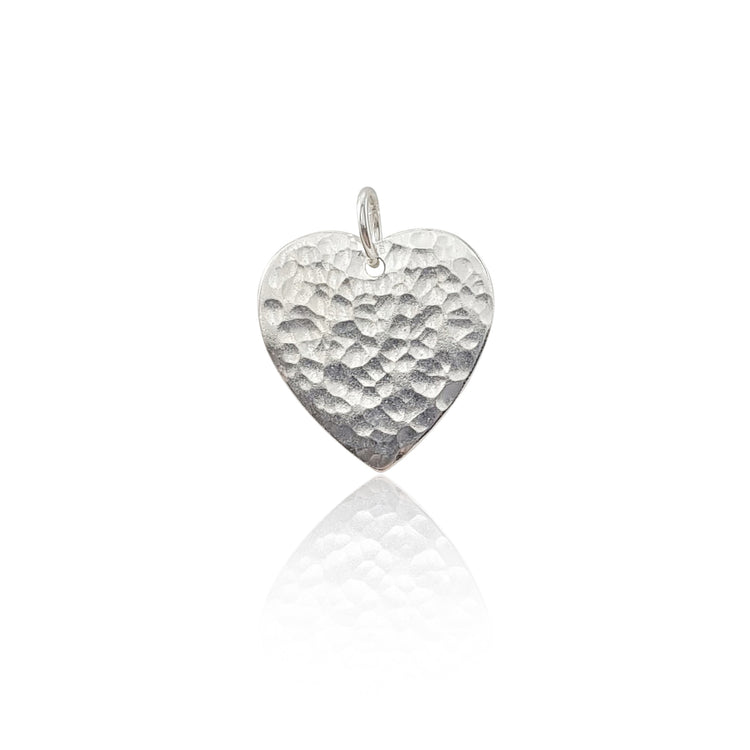925 Sterling Silver Hammered Heart Pendant Necklace
