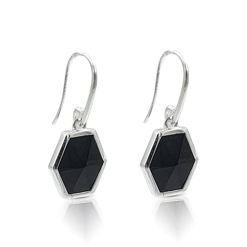 eliza bautista hexagon earrings monica vinader tiffany carrie elizabeth funky art deco earrings black rhodium sterling silver gemstone earrings