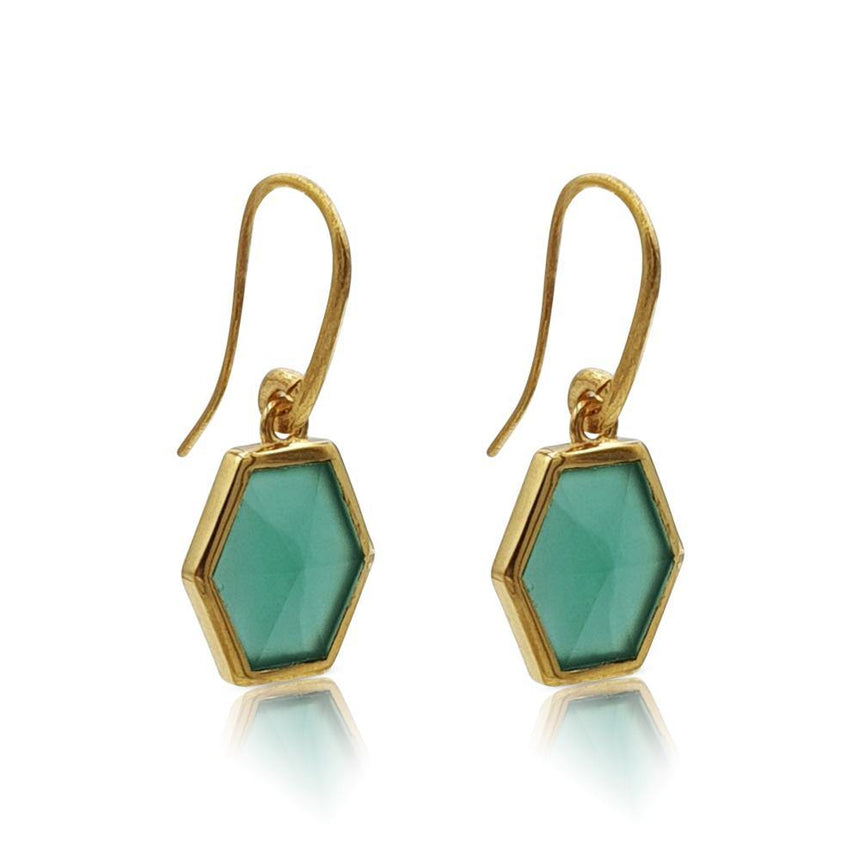 Mara: Hexagon Earrings with Green Onyx in 18k Gold Vermeil