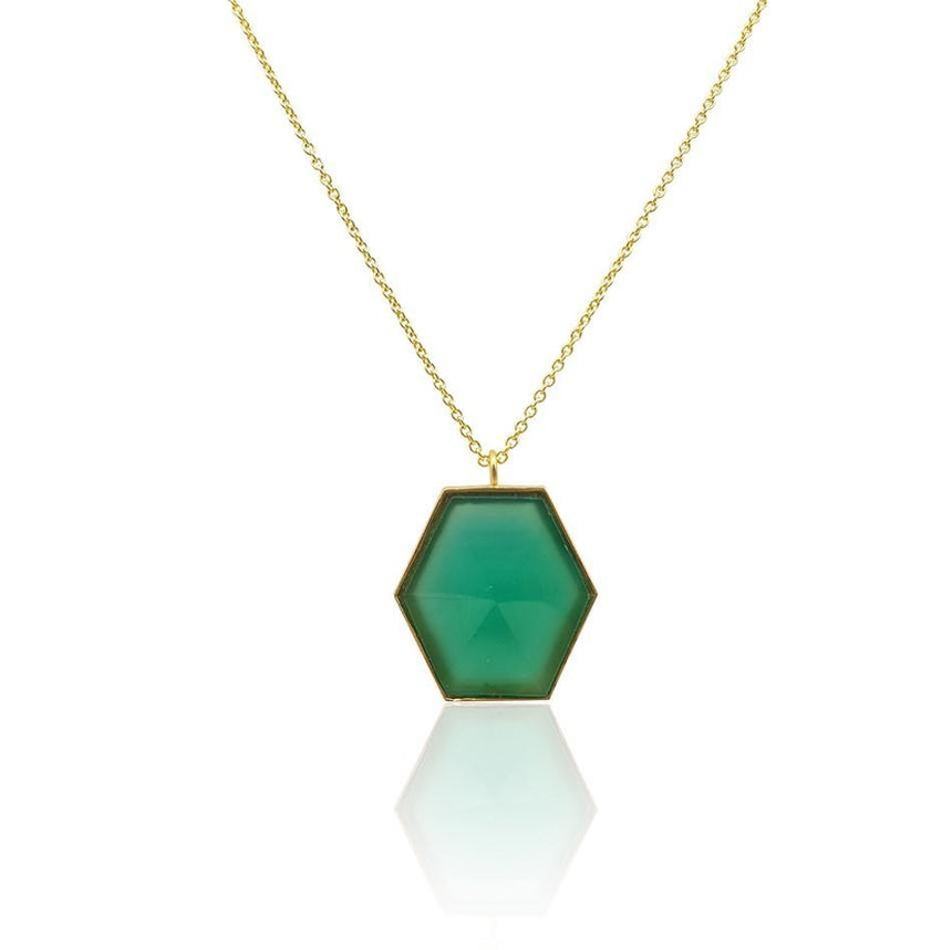 Mara: Hexagon Necklace with Green Onyx in 18k Gold Vermeil - Eliza Bautista