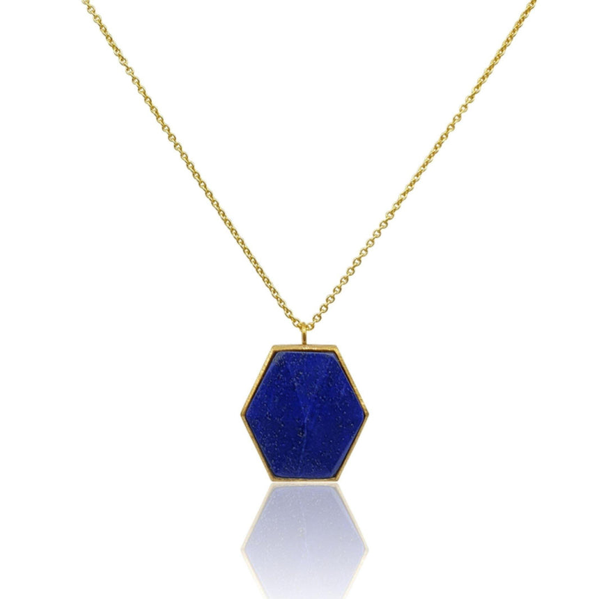 Mara: Hexagon Necklace with Lapis Lazuli in 18k Gold Vermeil