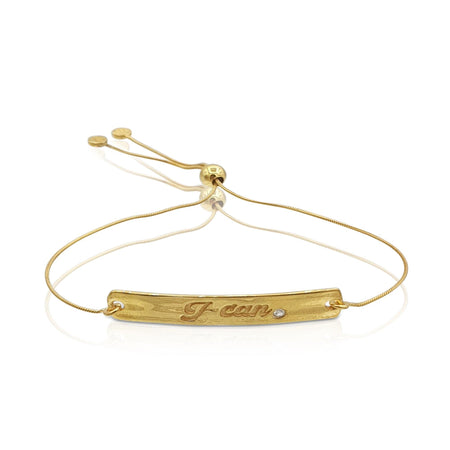 """I Can"" Diamond Bracelet in 18k Gold Vermeil"