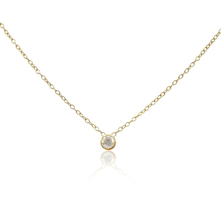 Lucia: Diamond Solitaire Necklace in 18k Gold Vermeil - Eliza Bautista