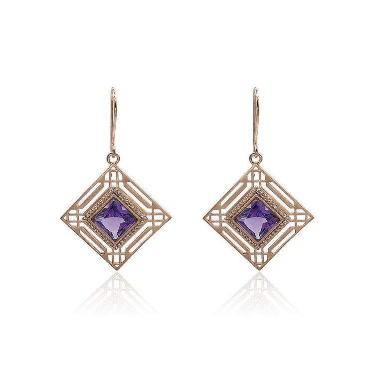 Marlene Art Deco Earrings with Amethyst & White Topaz in 18k Rose Gold Vermeil