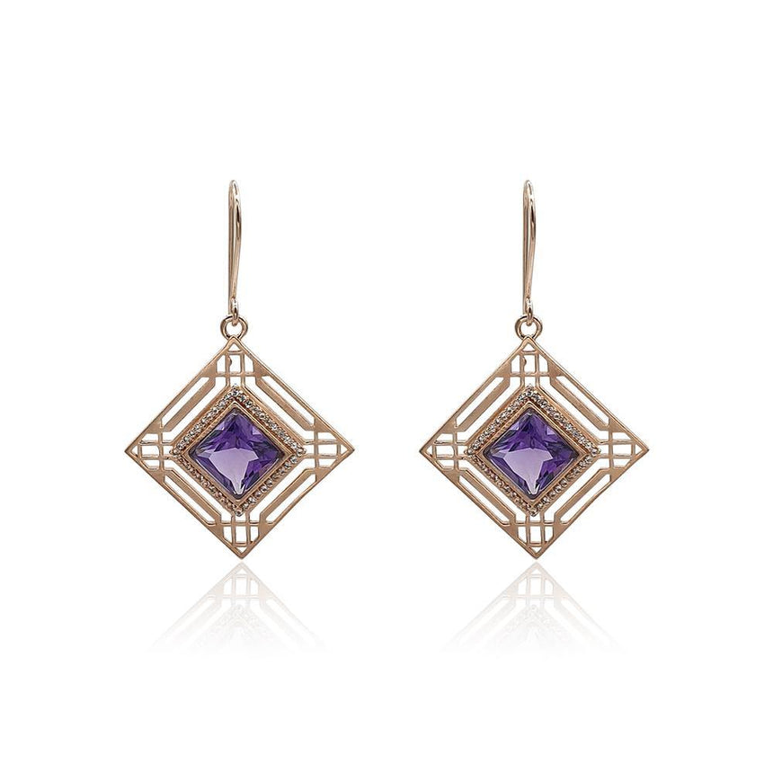 Marlene Art Deco Earrings with Amethyst & White Topaz in 18k Rose Gold Vermeil - Eliza Bautista