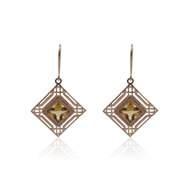 Marlene Art Deco Earrings with Citrine & White Topaz in 18k Rose Gold Vermeil