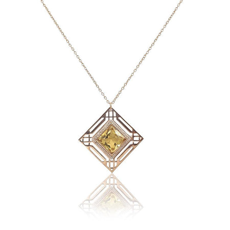 Marlene Art Deco Necklace with Citrine & White Topaz in 18k Rose Gold Vermeil