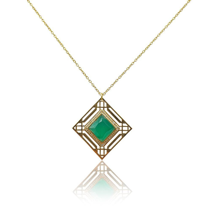 Marlene Art Deco Necklace with Green Onyx & DIAMONDS in 18k Gold Vermeil