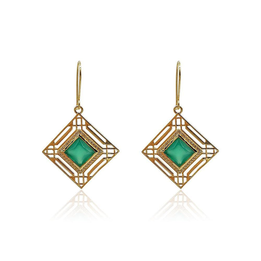 Marlene Art Deco Earrings with Green Onyx & DIAMONDS in 18k Gold Vermeil