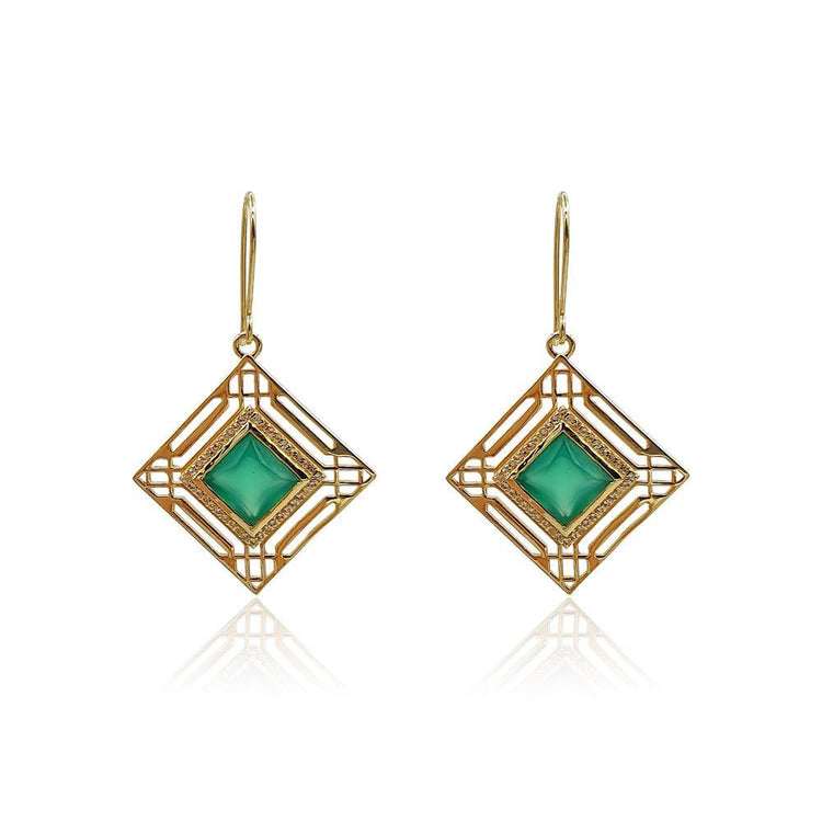 Marlene Art Deco Earrings with Green Onyx & White Topaz in 18k Gold Vermeil