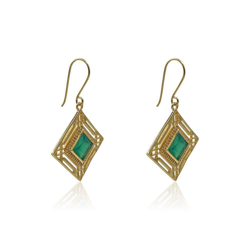 Fay Statement Art Deco Earrings with Malachite in 18k Gold Vermeil - Eliza Bautista