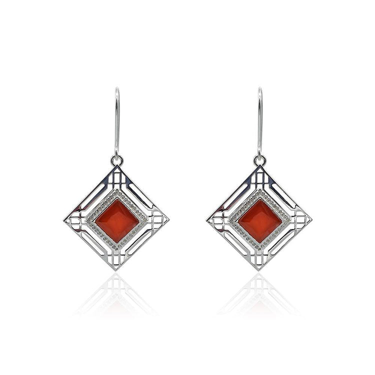 Marlene Art Deco Earrings with Red Onyx & White Topaz in Silver