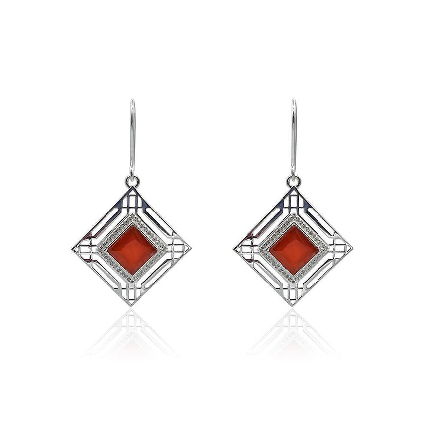 Marlene Art Deco Earrings with Red Onyx & White Topaz in Silver - Eliza Bautista