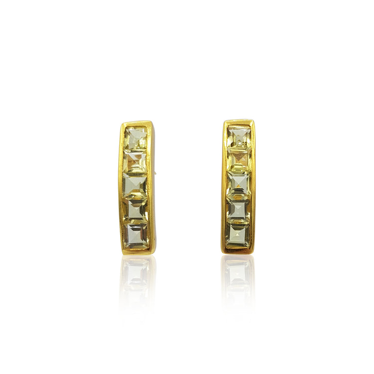 Nadine: Green-Gold Quartz Earrings in 18k Gold Vermeil on Sterling Silver