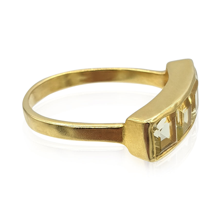 Nadine: Green Gold Quartz Ring in 18k Gold Vermeil on Sterling Silver - Eliza Bautista