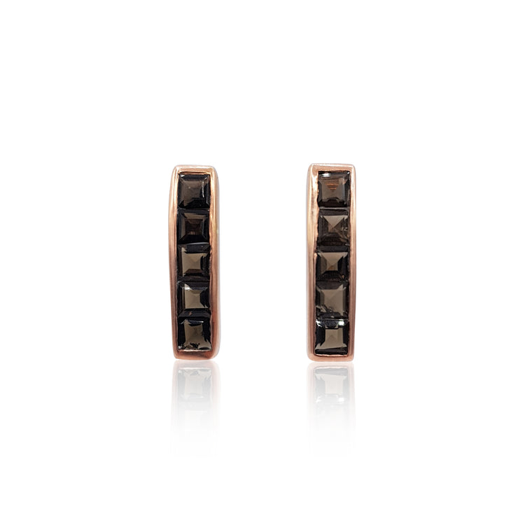 Nadine: Smoky Quartz Earrings in 18k Rose Gold Vermeil on Sterling Silver