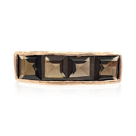Nadine: Smoky Quartz Ring in 18k Rose Gold Vermeil on Sterling Silver