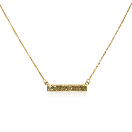 Nadine: Green Gold Quartz Necklace in 18k Gold Vermeil on Sterling Silver