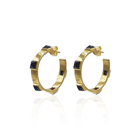 Onyx Rock Chic Hoop Earrings in 18k Gold Vermeil