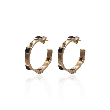 Onyx Rock Chic Hoop Earrings in 18k Rose Gold Vermeil
