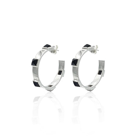 Onyx Rock Chic Hoop Earrings in Sterling Silver