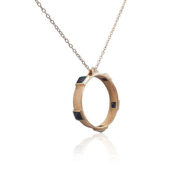 Onyx Rock Chic Necklace in 18k Rose Gold Vermeil