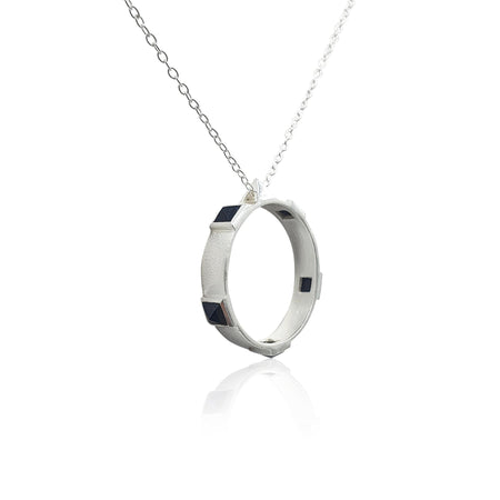 Onyx Rock Chic Necklace in Sterling Silver