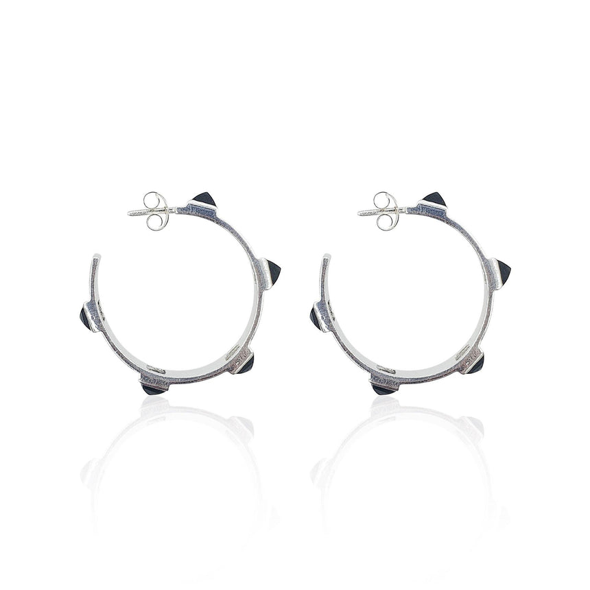 Onyx Rock Chic Hoop Earrings in 18k Gold Vermeil - Eliza Bautista