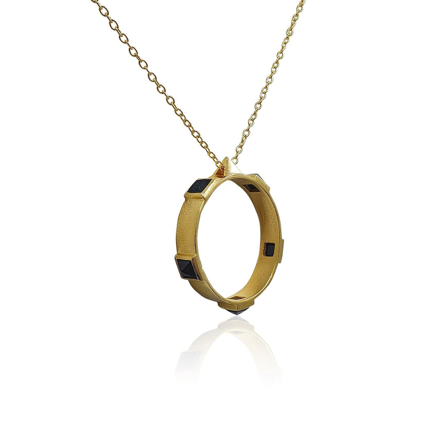 Onyx Rock Chic Necklace in 18k Gold Vermeil - Eliza Bautista