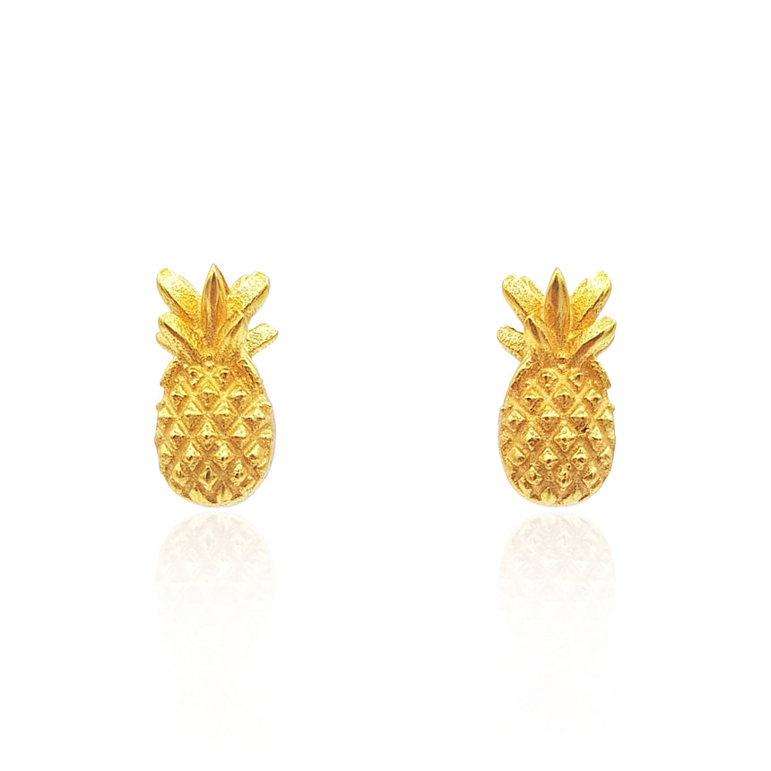 Pineapple Stud Earrings in 18k Gold Vermeil on Sterling Silver - Eliza Bautista