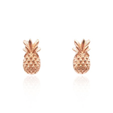 Pineapple Stud Earrings in 18k Rose Gold Vermeil on Sterling Silver - Eliza Bautista