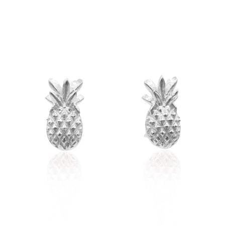 Pineapple Stud Earrings in Sterling Silver