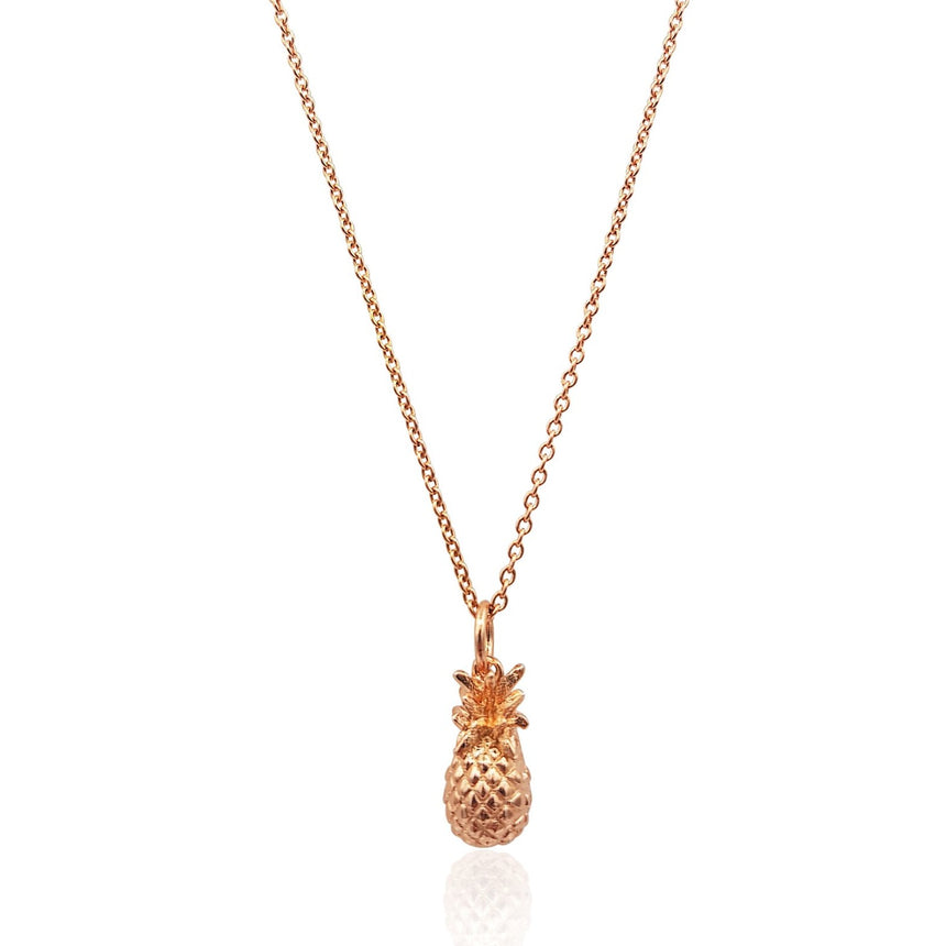 Pineapple 3D Necklace in 18k Rose Gold Vermeil on Sterling Silver - Eliza Bautista